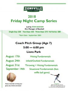 Coach Pitch Baseball Camp