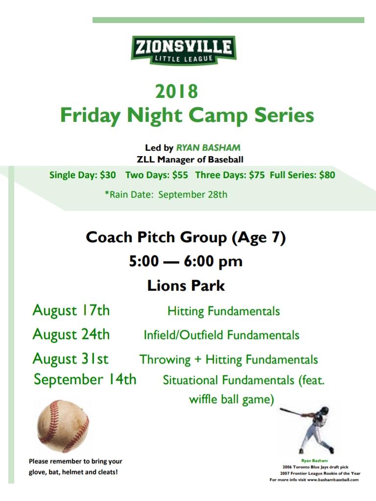Coach Pitch Baseball Camp